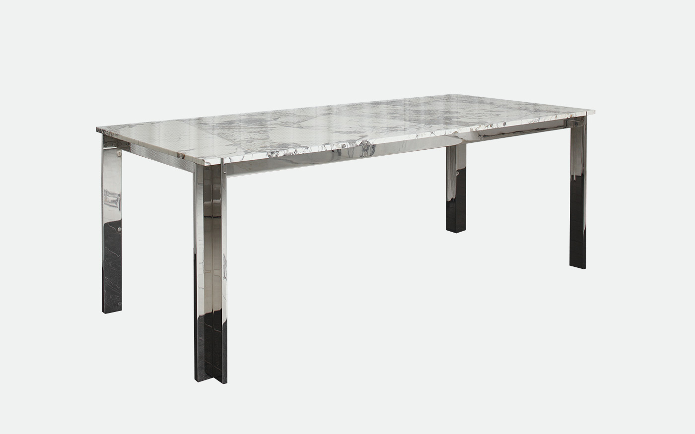 Nickel plated dining table with Patagonia Quartzite table top