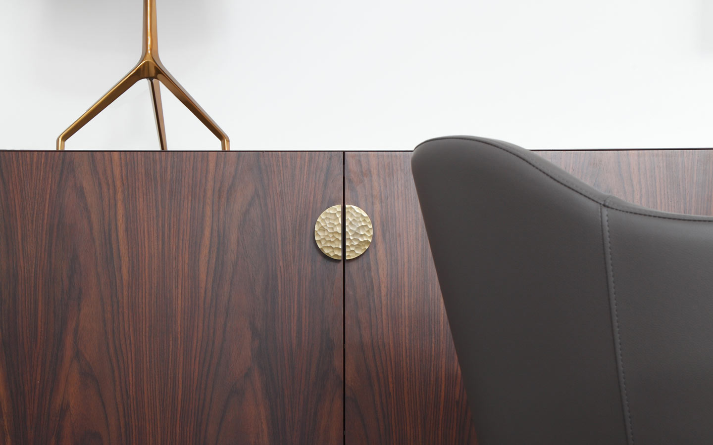 Mies cabinet designed by Studioloop in Rosewood with brass handle detail