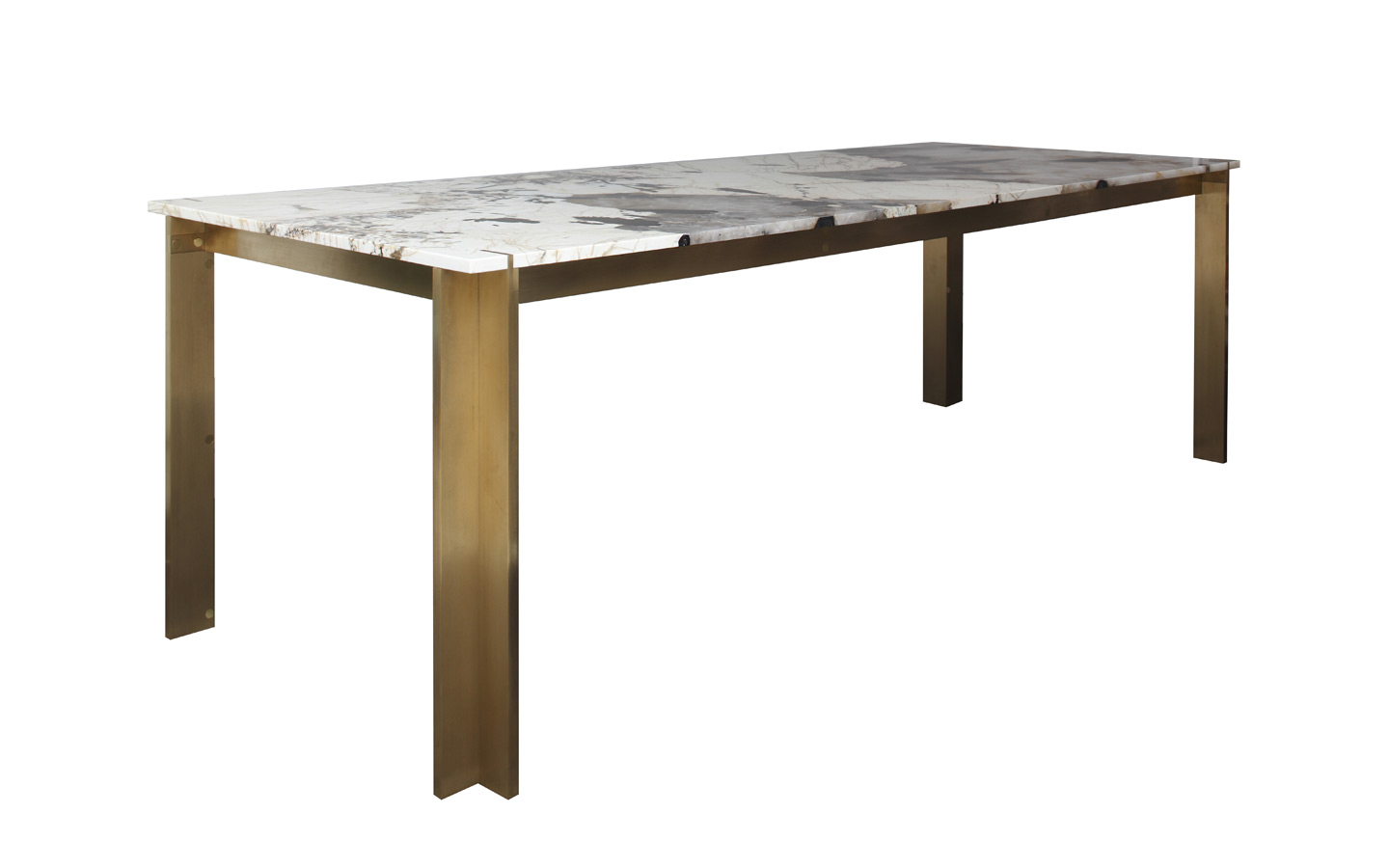 A Modular, Component dining table with milled brass frame and stone top