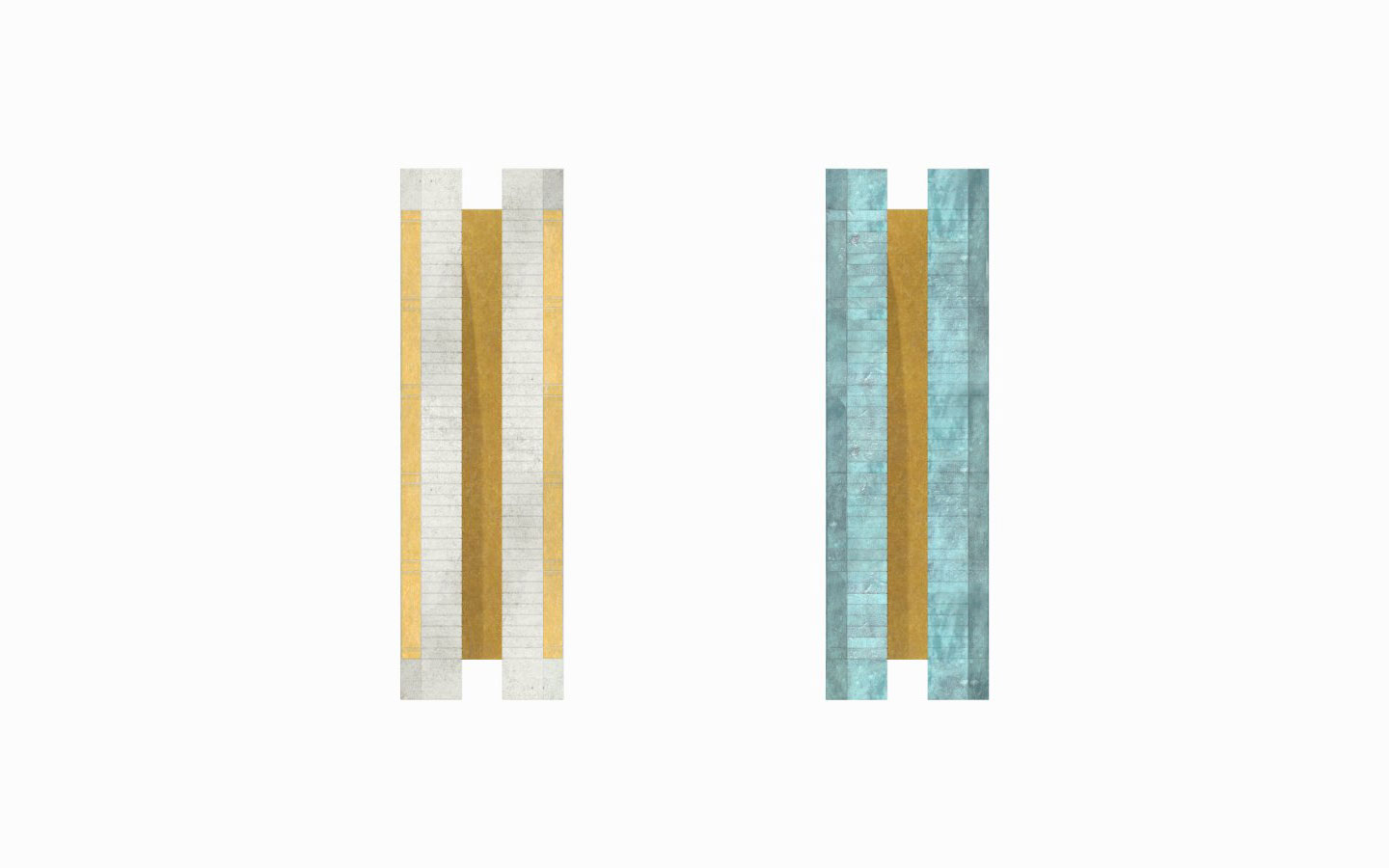Brass wall lights designed by Studioloop aged brass with aged silver finish and aged brass and verdigris fine