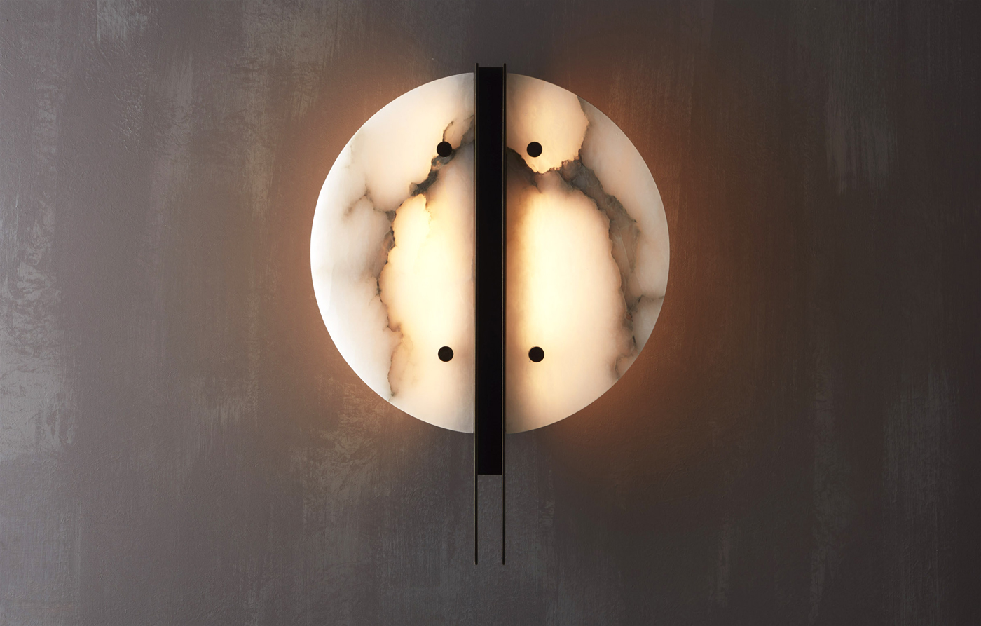 Patinated brass and alabaster wall light designed by Studioloop